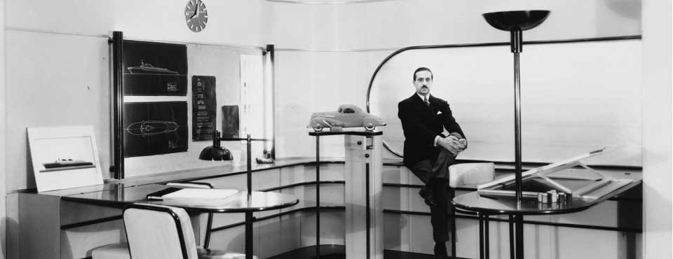 Raymond Loewy in his art deco office